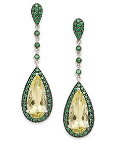 Sterling Silver Earrings, Lemon Quartz (5 ct. t.w.) and Green Swarovski Zirconia (1-1/5 ct. t.w.) Drop Earrings