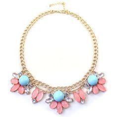 $4.53 Sweet Women's Beads Faux Gem Floral Necklace