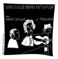 """Un día como hoy, 26 de febrero, de 1944 nacía María Creuza, una de las voces más """"calientes"""" (como afirma Vinicius, subrayando la cálida dulzura de su timbre) de Brasil.   Dejo aquí mi humilde homenaje a uno de sus mejores discos (grabado en el bar La Fusa, de Buenos Aires, en 1970), con el gran Vinicius de Moraes a las voces y Toquinho en la guitarra. Impresionante. Pelos como escarpias. Quien lo probó lo sabe.  #MariaCreuza #ViniciusdeMoraes #Toquinho #bossanova #viñeta #ilustracion…"""
