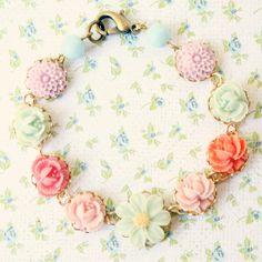 Lila Flower Bracelet gifts for girls baby shower gifts baby shower flower girl sea foam pink romantic necklace lilac seafoam shabby chic flower girl gift pastel 28.00 USD NestPrettyThingsKids
