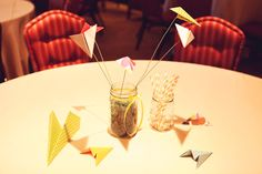 Planes on wire as centerpieces