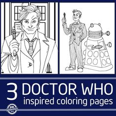 Time Lord and Dr. Who Inspired Coloring Pages