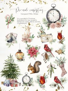 I am glad to present you my new watercolor collection Vintage Christmas. Christmas is a wonderful family holiday. A holiday in which childhood memories play a Watercolor Clipart, Watercolor Background, Watercolor Illustration, Watercolor Art, Watercolor Lettering, Christmas Design, Christmas Art, Christmas Projects, Vintage Christmas