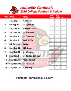 Louisville Cardinals College Football Schedule 2016. Print Here: http://printableteamschedules.com/collegefootball/louisvillecardinals.php
