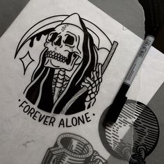 Forever alone skull tattoo