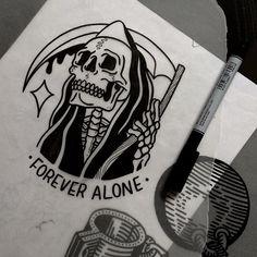 Forever alone skull tattoo