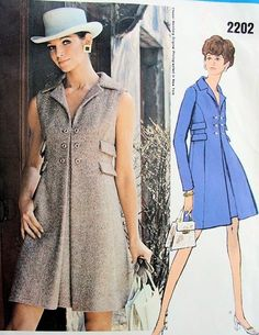 1960's a line dresses | 1960s COAT DRESS PATTERN HIGH FITTED A LINE STYLE CHESTER WEINBERG ...