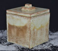 Hand-built Treasure Box with Lid covered with antique green glaze.