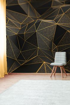 Geometric wallpaper with gold and black shapes, self adhesive, peel and stick floral wall mural Gold Geometric Wallpaper, Geometric Wall Paint, Gold Wallpaper, Mural Floral, Floral Wall, Home Entrance Decor, Bedroom Wall Designs, Room Wall Painting, Tv Wall Design