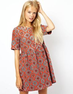 ASOS+Smock+Dress+In+Aztec+Jacquard