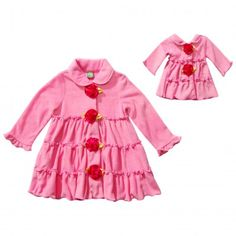 """Pink Roses"" Fleece Coat Outerwear with Matching Outfit for 18 inch Play Doll. She'll be pretty in pink and staying warm wearing this cute coat outwear this winter."