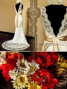 Deep V-Cut Back Vintage Style Lace Wedding Dress Features Illusion Neckline and Satin Sash