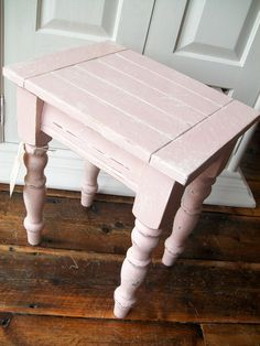 Cute upcycled mini table painted with Antoinette over Old White, distressed to give a shabby chic look and finished with Annie Sloan Soft Clear Wax