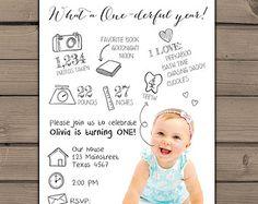 Infographic birthday invitation First birthday invitation 1st birthday Favorites Milestones Birthday party Photo Digital printable ANY AGE