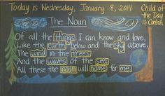 Waldorf ~ 4th grade ~ Grammar ~ Noun Poem ~ chalkboard drawing