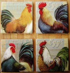 4 Chicken Hen Rooster Coasters Ceramic Tea Coffee Drinks Country Kitchen
