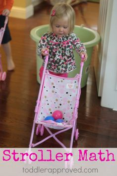 Toddler Approved!: Cool Math Activities for Kids: Stroller Number Fun. Stroller races + balls + math = loads and loads of fun! What other ways could you use baby strollers for learning?