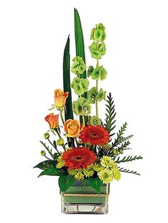 Modern Boxed Flower Arrangement - petite glass vase, roses, crysanthemums, gerberas, and moluccella.
