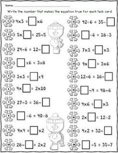 FREE Winter Missing Numbers Worksheet using 2 digit Addition and Subtraction Second Grade Math, First Grade Math, Grade 2, Math Addition, Addition And Subtraction, Math Worksheets, Math Resources, Classroom Resources, Math Activities