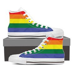 Show your gay pride with these canvas shoes. Full canvas double sided print with rounded toe construction. Lace-up closure for a snug fit. Soft textile lining w