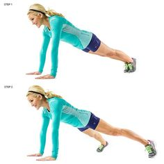 Plank Jack:  (1) Place your hands on the floor directly beneath shoulders in push up plank position. Your body should be in a straight, diagonal line from your head to toes. Do not let your stomach sag or arch. (2) Jump your feet out to the sides, and then back to center like a jumping jack. Repeat this move for 60 seconds