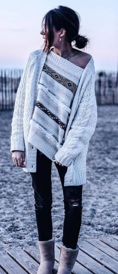 fall outfit idea: knit cardigan + one shoulder top + ripped jeans