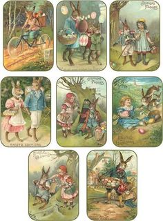 Vintage Easter 8 bunny eggs children antique pictures tags scrapbooking crafts