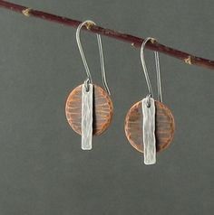 Mixed Metal Copper and Silver Earrings, Modern Copper and Sterling Silver Earrings, by LittoralLineStudio on Etsy