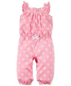 Carter's Baby Girls' Pink Dot Jumpsuit