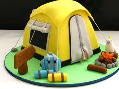 Possibly a camping birthday party down the line? Crazy Cakes, Fancy Cakes, Unique Cakes, Creative Cakes, Pretty Cakes, Cute Cakes, Cake Cookies, Cupcake Cakes, Gateau Harry Potter