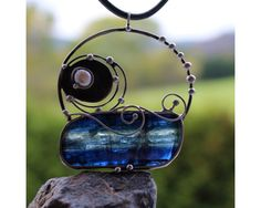 Above the Sea - Soldered Metal Pendant with Blue Kyanite Disthene $29 by AtelierQ