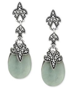 Genevieve & Grace Sterling Silver Earrings, Jade (33 ct. t.w.) and Marcasite Teardrop Earrings | macys.com