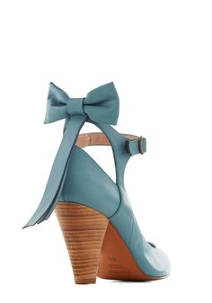 Bow My Darling Heel in Sky. Nearly everyone will want you to be their darling when they spot you styled in the sky-blue hue of these sweet leather pumps by Shani Bar.