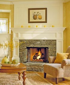 Bead board over the fireplace to divide the room and create a focal point, also like the mantle