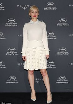 Stunning style: Emilila Clarke, 31, looked wonderful in white as she made a wardrobe change for the Kering Women In Motion event during Cannes Film Festival