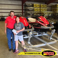Thanks to Mike and Stephanie McKenzie from Sandy Hook MS for getting two 2016 Yamaha VX Deluxe Waverunners and a double Magic Tilt trailer. @HattiesburgCycles