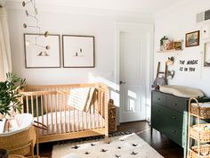 Subtle pops of color and geometric designs are the basis of a Scandinavian nursery. Simple and practical, create a space that's baby-friendly. Shop now. Nursery Dresser, Nursery Crib, Baby Dresser, Baby Room Design, Baby Room Decor, Nursery Design, Baby Boy Rooms, Baby Boy Nurseries, Green Baby Rooms