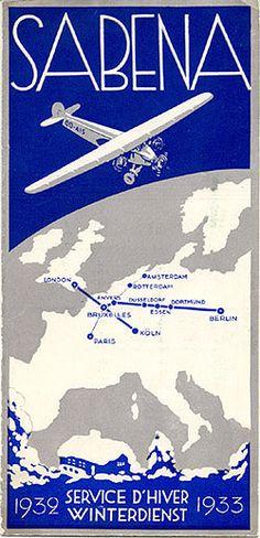 """Sabena Service d'Hiver - Winterdienst 1932 - 1933"""