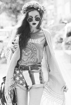 ☮ AHH lovveee the ramones shirt, american flag shorts, dark lips, sweater, flower crown
