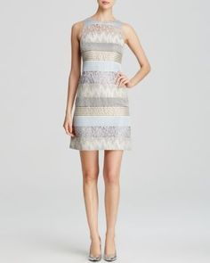 Kay Unger Dress - Sleeveless Mixed Media Shift | Bloomingdale's