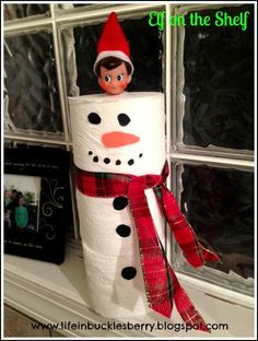 Skippy turned rolls of toilet paper into a snowman! www.lifeinbucklesberry.blogspot.com