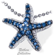 White gold starfish pendant with blue diamonds, feature micro pave setting of blue colored diamonds