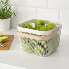 Perfect for storing those fruits and veggies that are happier outside the fridge. The steel mesh ventilates so food keeps longer. Also handy as extra storage in the hallway, bedroom or home office. Pantry Baskets, Wire Baskets, Wire Storage, Storage Baskets, Kids Play Spaces, Small Spaces, Ikea Shopping, Home Grown Vegetables, Wall Organization