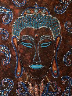 Buddha wall art original painting yoga boho folk art meditation art zen surreal #ContemporaryArt