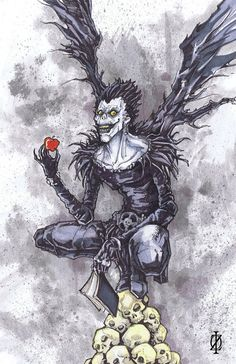 Check out this item in my Etsy shop https://www.etsy.com/listing/197988118/ryuk-death-note-poster-print
