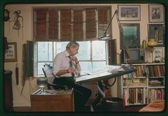 Charles Addams in his studio