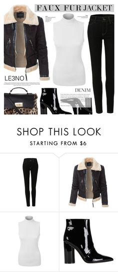 """Faux Fur Jacket & High Rise Jeans - LE3NO"" by anyasdesigns ❤ liked on Polyvore featuring LE3NO and Sigerson Morrison"