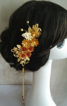 Asian bridal hair piece. Perfect for tea ceremonies, Chinese bride with traditional cheongsam or Asian themed wedding.