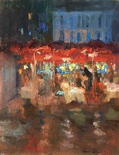 Dinner after the Rain by Oksana Johnson  ~ 16 inches x 12 inches