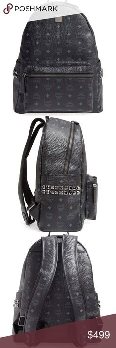 mcm Medium Stark Black Backpack New without tag. Darkly shining gunmetal pyramid studs add a touch of cool-girl edge to a logo-stamped backpack. Everything you could want in a fashionable pack: a padded pocket secures your laptop or tablet, while the deep interior organizes your books, papers or weekend gear, and exterior pockets provide places to stow sunglasses and other small essentials. Two-way, zip-around closure Top carry handle; adjustable backpack straps Exterior zip and slip pockets…